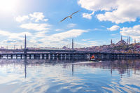 Halic Metro Bridge and famous Mosques of Istanbul, Turkey