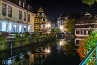 Historic half-timbered houses in tanners quarter in district la petite france in Strasbourg at night