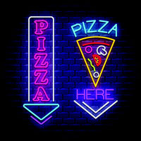Pizza sign collection  - Neon Sign Vector on brick wall background