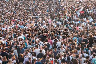 Crowd of people in park (Mauerpark) at 'fete de la musique' in Berlin