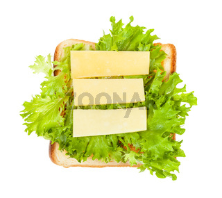 open sandwich with toast, cheese and leaf lettuce