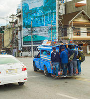 People overloaded city bus Thailand