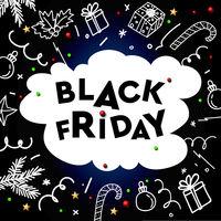 Black Friday Sale, template with doodle decorative elements on chalkboard background, vector illustration.