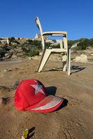 Garbage on a deserted sandy beach, Kaplica, greek Davlos