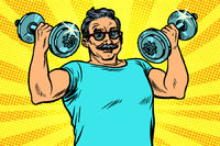 elderly man lifts dumbbells, fitness sport