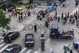 Greek Police blocking street traffic at Thessaloniki, Greece.