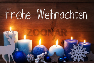 Turquoise Candle, Christmas Decoration, Frohe Weihnachten Means Merry Christmas