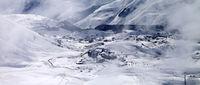 Panoramic view on ski resort at mist
