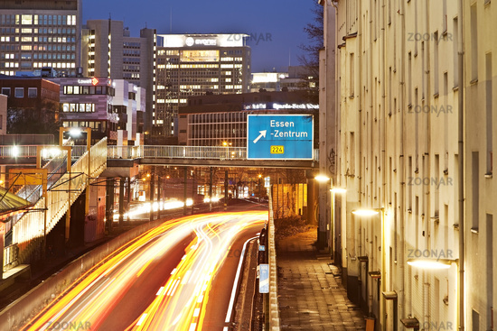 motorway A40 directly to residental houses in the evening, Essen, Ruhr Area, Germany, Europe