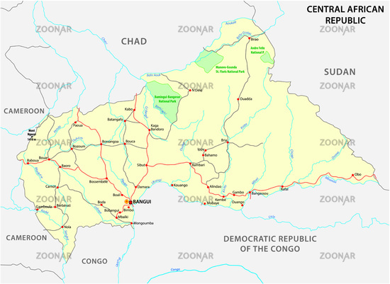 central african republic road vector map Image