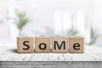 Social media slang word SoMe sign