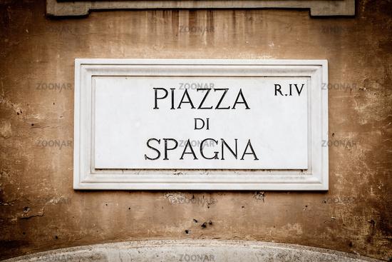 Street sign: Piazza di Spagna (Spain Square) in Rome