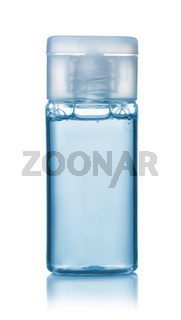 Front view of blue small plastic shampoo bottle