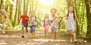 Viele Kinder laufen beim Wandertag in der Natur