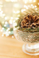 close up of christmas decoration of fir and cone