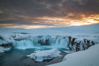Long exposure of Godafoss at dusk on a cold islandic winter day