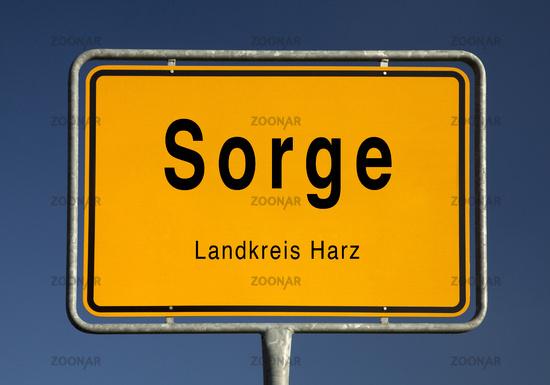 City Limits sign of Sorge, quarter of Oberharz am Brocken, Harz district, Saxony-Anhalt, Germany