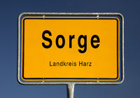 City Limits sign of Sorge, quarter of Oberharz am Brocken, Harz district, Saxony-Anhalt, Germany
