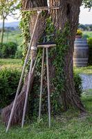 Gartengeraete lehnen an einem Baum