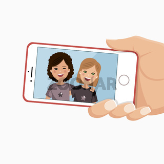 Happy friends photo in a smartphone. Girls are photographed together. Flat vector illustration