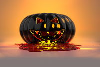 The evil and scary carved face of pumpkin made of black steel with the blood pours out. Halloween 3d illustration