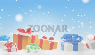 christmas presents wooden planks with snowflakes 3d-illustration