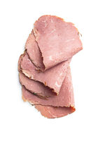 Sliced roast beef. Tasty fresh meat.