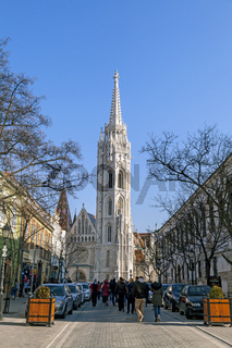 Budapest, HUNGARY - FEBRUARY 15, 2015 - Street with tower of St. Matthias Church in Budapest