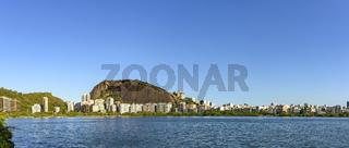 Panoramic image of the Rodrigo de Freitas lagoon in Rio de Janeiro