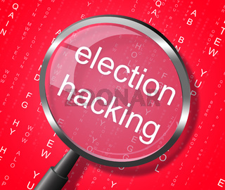 Election Hacking Magnifier Shows Elections Hacked 3d Illustration