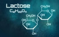 Chemical formula of Lactose on a futuristic background