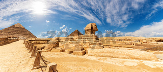 The Sphinx in front of the Pyramids, beautiful panoramic view