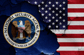 flags of National Security Agency and USA painted on cracked wall
