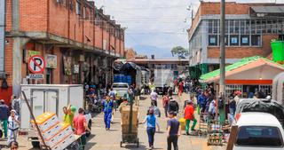 Bogota general market of Corabastos goods handling