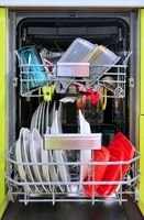 Front view of full loaded dishwasher