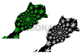Morocco - map is designed cannabis leaf