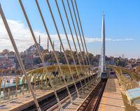 Halic Metro Bridge train platform and the Suleymaniye Mosque in the background, Istanbul
