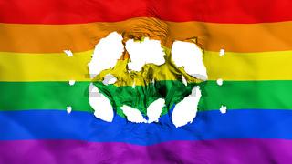 Holes in Gay rainbow flag
