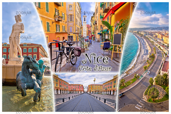 Nice. City of Nice tourist postcard of famous landmarks (with label), French riviera or Cote d Azur