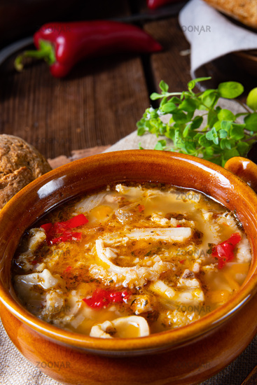 Rustic Spicy tripe soup with red paprika.