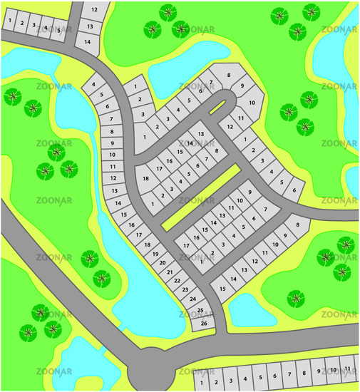 fictitious cadastral plan with roads and property boundaries