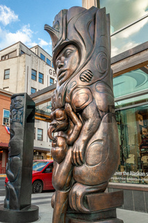 September 14, 2018 - Juneau, Alaska: Bronze sculptures by Native artists David R. Boxley and Stephen Jackson.