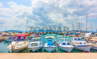 Moored up fishing boats