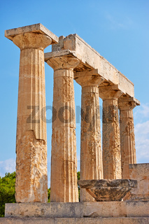 Ancient columns of temple of Aphaea in Aegina