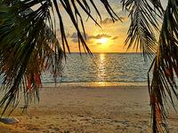 Colorful ocean beach sunset .Tropical Maldives beach.