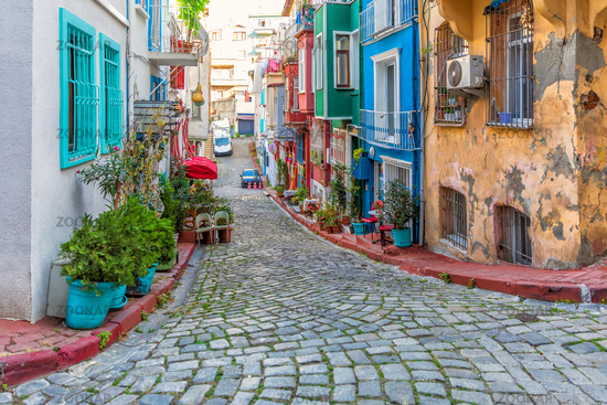 Istanbul streets, colorful Fener views, Turkey