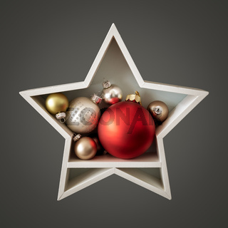 Christmas decoration white star with glass balls inside