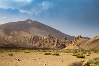 View of Volcano Mount Teide and Famous Rock Formation in National Park, Tenerife, Spain