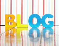 the word BLOG with wooden letters o