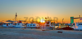 Panorama of the port of Aegina with fishing boats